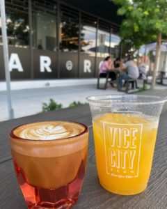 Photo of coffee and juice at Vice City Bean in Miami Florida