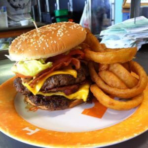 Photo of burger at T-Ray's Burger Station in Fernandina Beach Florida
