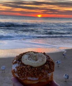 Donut on the beach from Swiller Bees in Flagler Beach Florida