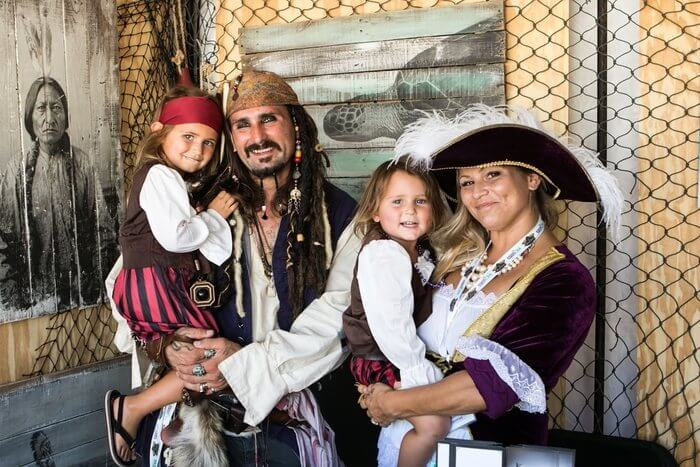 Photo of a family dressed as pirates